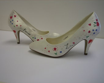 Personalised, Hand Painted Wedding shoes