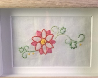 Flower motif  hand embroidered framed picture