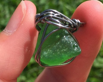 Green Sea Glass Wire-Wrapped Ring