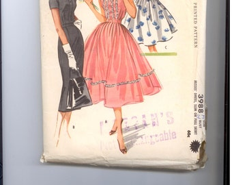 McCall's pattern Dress,Skirt 1956 - Vintage Pattern 3988 - 1950's
