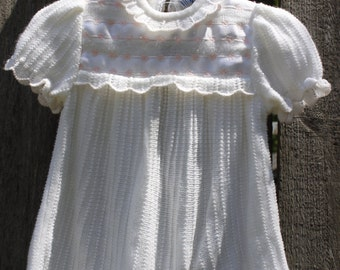 Vintage Baby Girls White Sweater Dress, by Babycrest