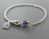 Birthstone and personalized initial charm sterling silver bracelet, birthstone bracelet, letter bracelet, initial bracelet, name bracelet
