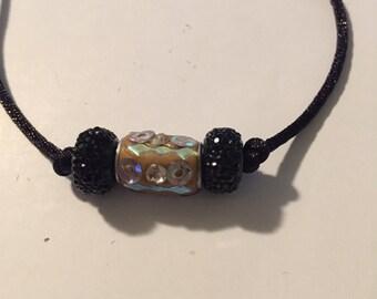Simple Earth Tone and High Shine Black Beaded Bracelet