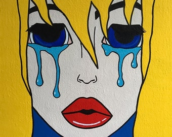 Crying Girl-Blond Pop Art