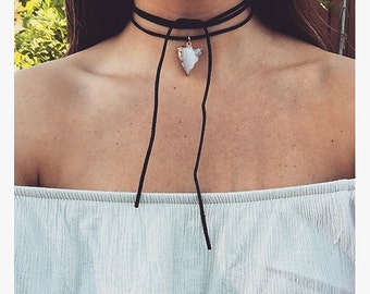 Crystal and leather choker