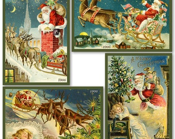 Santa Claus Christmas Quilt Blocks #6 Set of 4