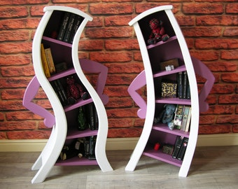 Pair of Bendy / Curvy Character Bookcases Shelving Fairytale Disney Inspired