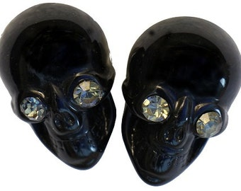 Classic Black Lucite Skull Earrings