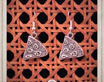 PIZZA earrings silver parts pizza BOA010