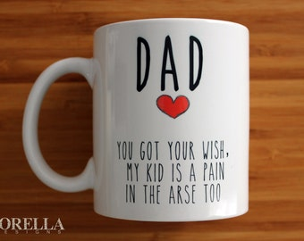 Dad mug, fathers day mug, Dad, gift, gift for him, fathers day gift, ceramic mug, personalised, funny mug, wish, kid, children, thank you,