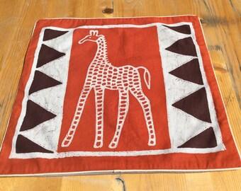 Batik-Kissenbezug-Giraffe rot, 40x38,5 cm