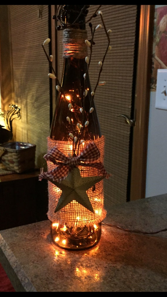 Lighted Wine Bottle With Rustic Star By 51buttons On Etsy