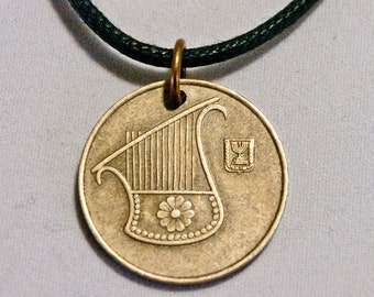 Israel Lyre Coin necklace Pendant charm Shekel Israel coin jewelry