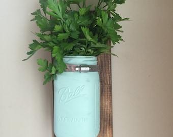Sea foam green/ teal mason jar vase
