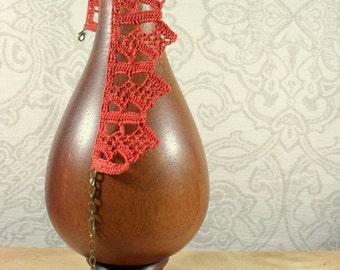 Terracotta crochet pure cotton lace Choker