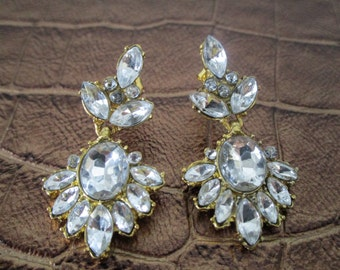 Wedding Antique Style Crystal & Gold Earrings EA6006i