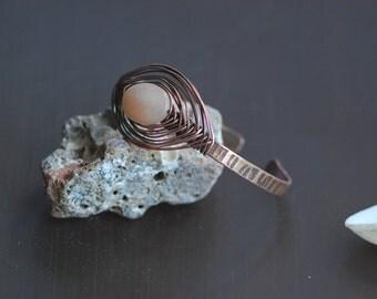Peach Aventurine Wire wrapped bracelet Copper jewelry Oxidized Bracelet Handmade bracelet Copper bracelet Bangle bracelet  Healing bracelet