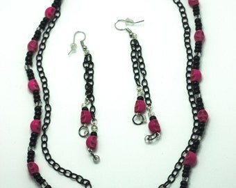 Pink and Black Skull Necklace and Earring Set