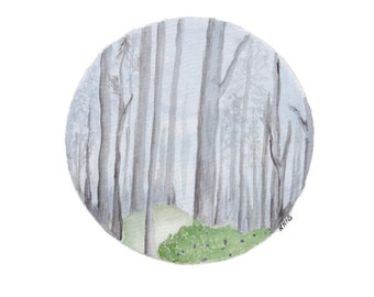 Woodlands landscape -Print A4, forest with trees, Watercolour Art, Circle Woodlands Art