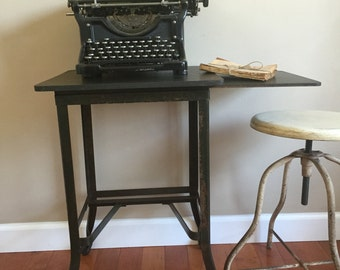 Antique/vintage typing table with wood top and side board