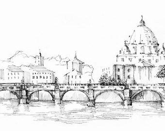 Ponte sant'Angelo Fine Art Print