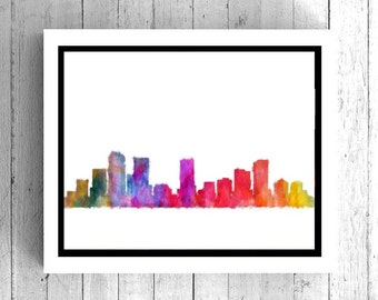 Denver Colorado Watercolor Art - Denver skyline art, Denver poster, Denver art print, Colorado wall art, Digital art, instant download