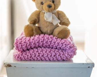 Chunky Knit 100% wool throw - Candy Pink