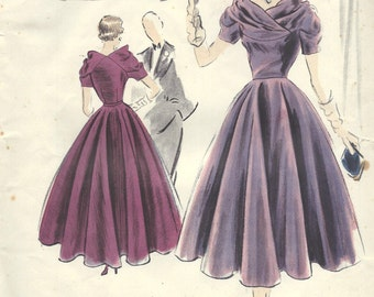 1951 Vintage VOGUE Sewing Pattern B30 DRESS (1428) Vogue 603