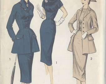 "1950s Vintage Sewing Pattern B34"" JACKET, DRESS & SCARF (R8) By Hannah Troy  Advance 7879"