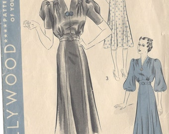 "1940s Vintage Sewing Pattern DRESS B40"" (132) Hollywood 1644"