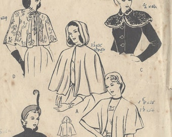 1940s WW2 Vintage Sewing Pattern B32-34 CAPE & STOLE (1087) Butterick 4570