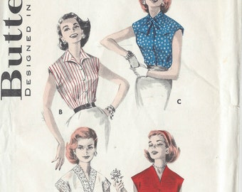 1950s Vintage Sewing Pattern B38 BLOUSE (1003)  Butterick 555