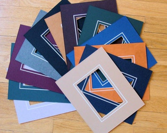 """Picture Frame Matting 12 Mats for 5x7"""" Photo or Art Fits 8x10"""" Frame Variety of Colors Decorative V-Groove Other Sizes Available Archival"""