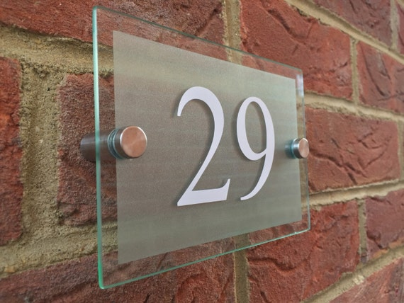 Modern House Sign door number street glass effect acrylic silver house name plaque door number sign & Modern House Sign door number street glass effect acrylic pezcame.com