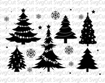 Christmas Tree SVG Cut Files - Christmas Monogram for Vinyl Cutters, Screen Printing, Silhouette, Die Cut Machines, & More