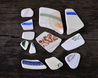 Genuine Sea Porcelain Shards Dishes Fragments Beach Sea Ceramics Mosaics pieces Craft Genuine Sea Pottery with signature Patterned sea find