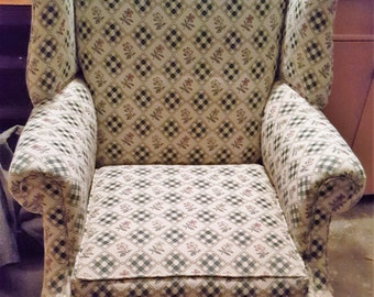 Items Similar To Wing Chair Slipcover Funky Gray Floral