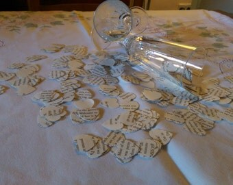 300 Wedding Paper Hearts, Made from the pages of a romantic novel.