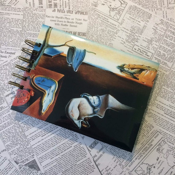 Sketchbook Salvador Dali style handmade draw journal exclusive notebook black sheets notepad birthday gift for her personalized