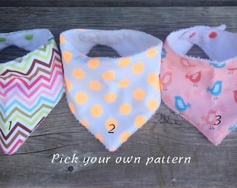 Pick your own print, toddler bib, toddler bandana bib, toddler bandana scarf, drool bib, dribble bib, toddler scarf, toddler scarf bib