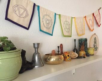Chakra Banner - Prayer Flags, embroidered, sacred space, altar decor, alignment, meditation, rainbow, mandala, healing energy, 7 chakras