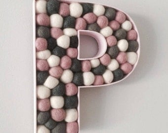 Wooden Felt Ball Letter P in pinks/greys