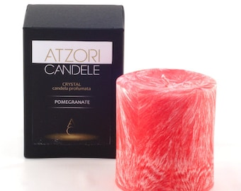 Pomegranate scented small pillar candle