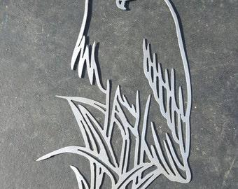 Great Blue Heron metal wall art plasma cut decor nautical
