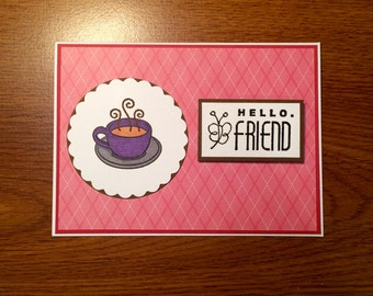 Hello Friend Card - Handmade - Perfect for a friend - Red, Purple with Coffee