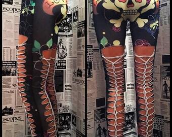Shredded and braided Skull Tattoo Leggings Handmade Custom stretch Punk Slashed