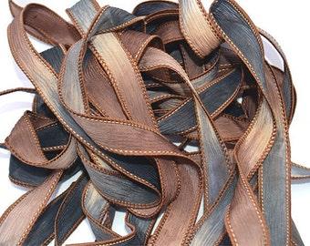 "1PC. SNAKESKIN 42"" hand dyed wrist wrap bracelet silk ribbon//Yoga wrist wrap bracelet ribbons//Hand dyed Boho Silk wrist wrap ribbon"