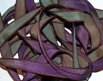 "1PC. TOAD STOOLS 42"" hand dyed wrist wrap bracelet silk ribbon//Yoga wrist wrap bracelet ribbons//Hand dyed Boho Silk wrist wrap ribbon"