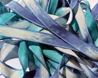 "1PC. NAUTICAL 42"" hand dyed wrist wrap bracelet silk ribbon//Yoga wrist wrap bracelet ribbons//Hand dyed Boho Silk wrist wrap ribbon"
