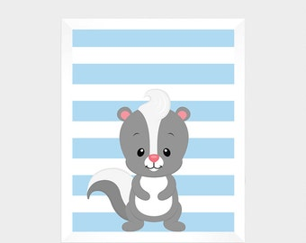 Woodland Animal Skunk, Digital Print, Printable Art, Nursery Decor, Baby Print, Instant Download, Home Decor, Nursery Wall Art, Baby Print